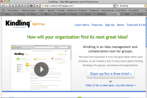 Screenshot of the Kindling web site - nice web 2.0 color palette